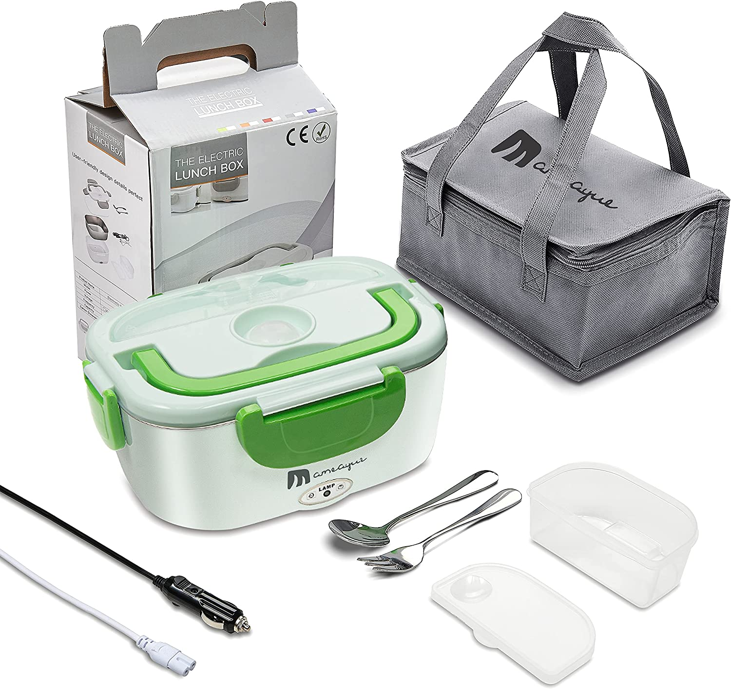 Electric Lunch Box[Complimentary Insulation Bag],MAMEAYUE 12V 24V 110V 3 in1 Portable Microwave for Car/Truck/Home–Leak proof, 1.5L Stainless Steel Food Warmer and Heater Container