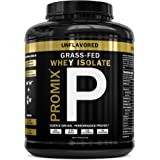 PROMIX:Undenatured Grass Fed Whey Isolate. Cold Processed with Multi-stage Micro-filtration. 30G Protein/ 6.9G BCAA/ .5G Fat/2G Carbs/ <1g Lactose. Easy to Mix.(5 lb bulk).69 Servings Unflavored