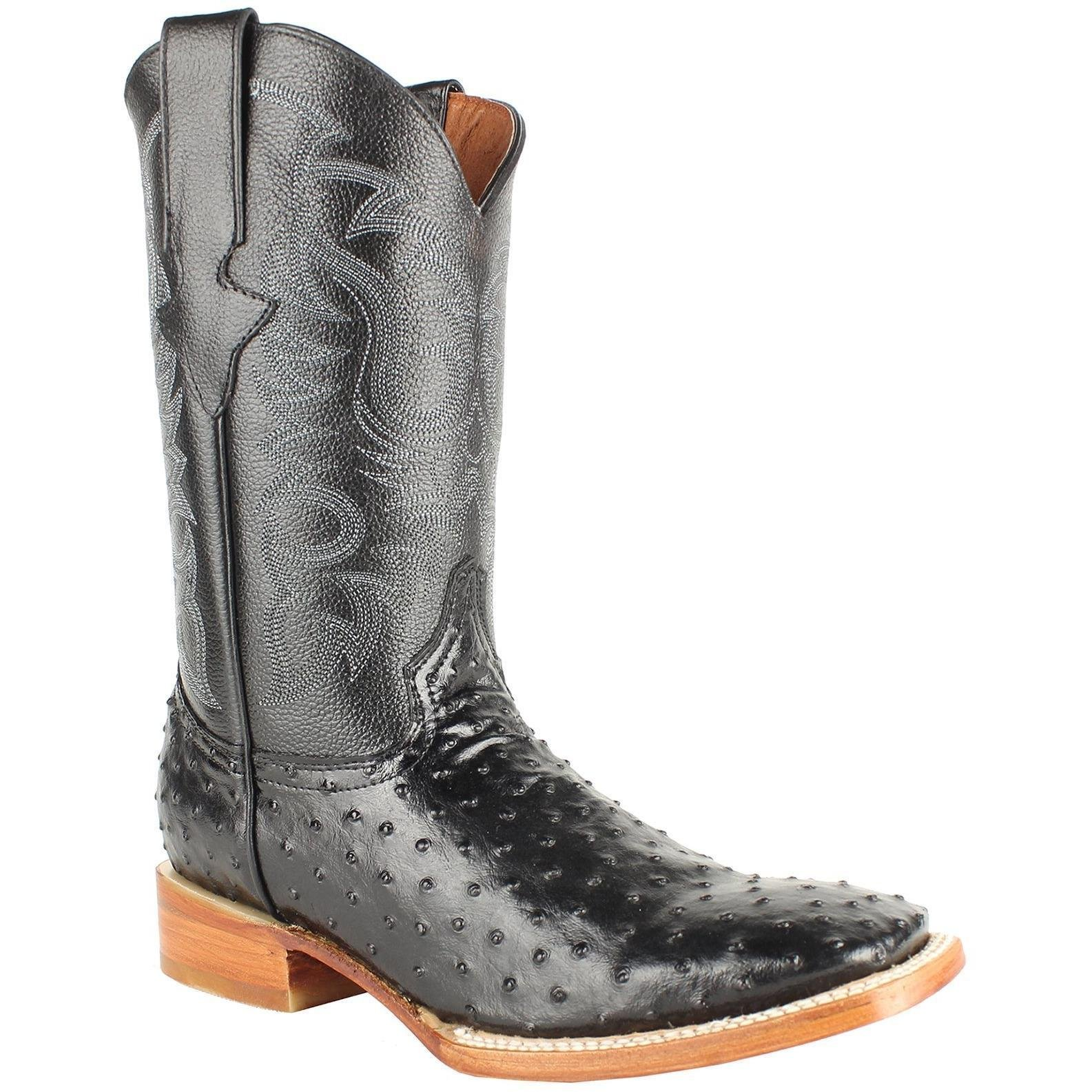 Men Genuine Cowhide Leather Ostrich Print Square Toe Western Boots_Black_10
