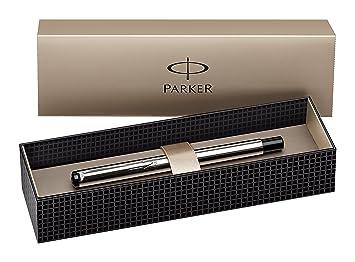 Parker - Pluma estilográfica y caja (acero inoxidable, punta fina)