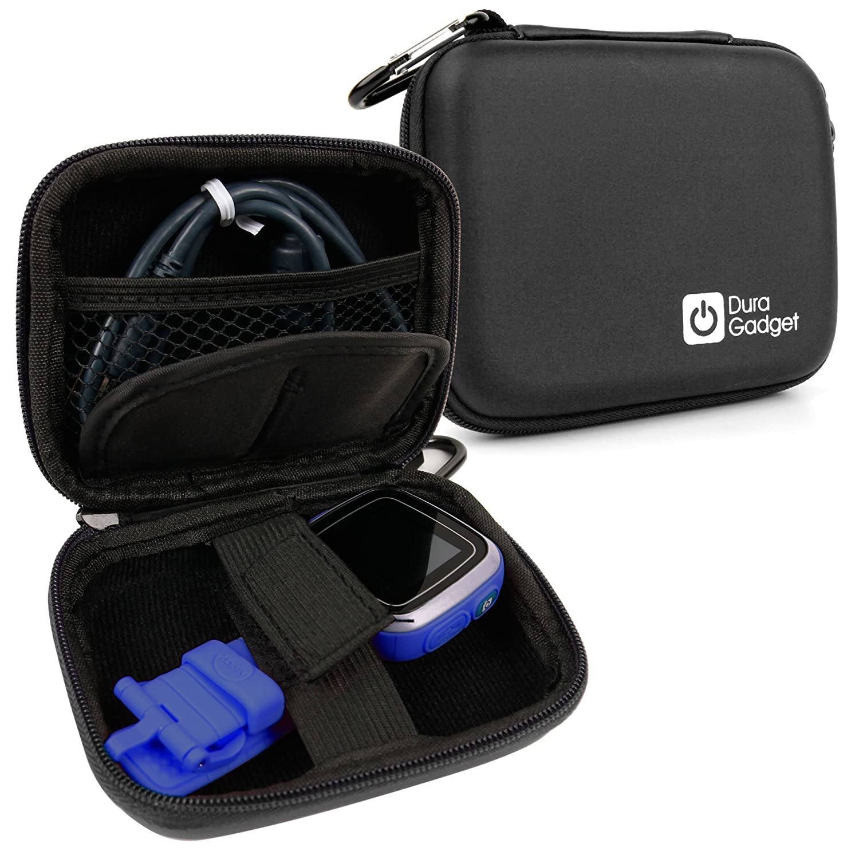 DURAGADGET Funda Negra Compatible con Vtech Kidizoom Smartwatch/DX + Mini Mosquetón - Resistente A Golpes