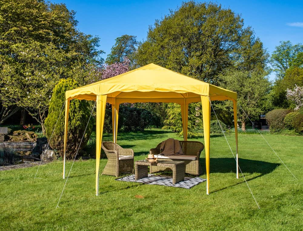 4 M x 4 m cenador amarillo jardín 140 g/m² marco de acero resistente al agua: Amazon.es: Jardín