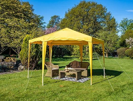 4 M x 4 m cenador amarillo jardín 140 g/m² marco de acero ...