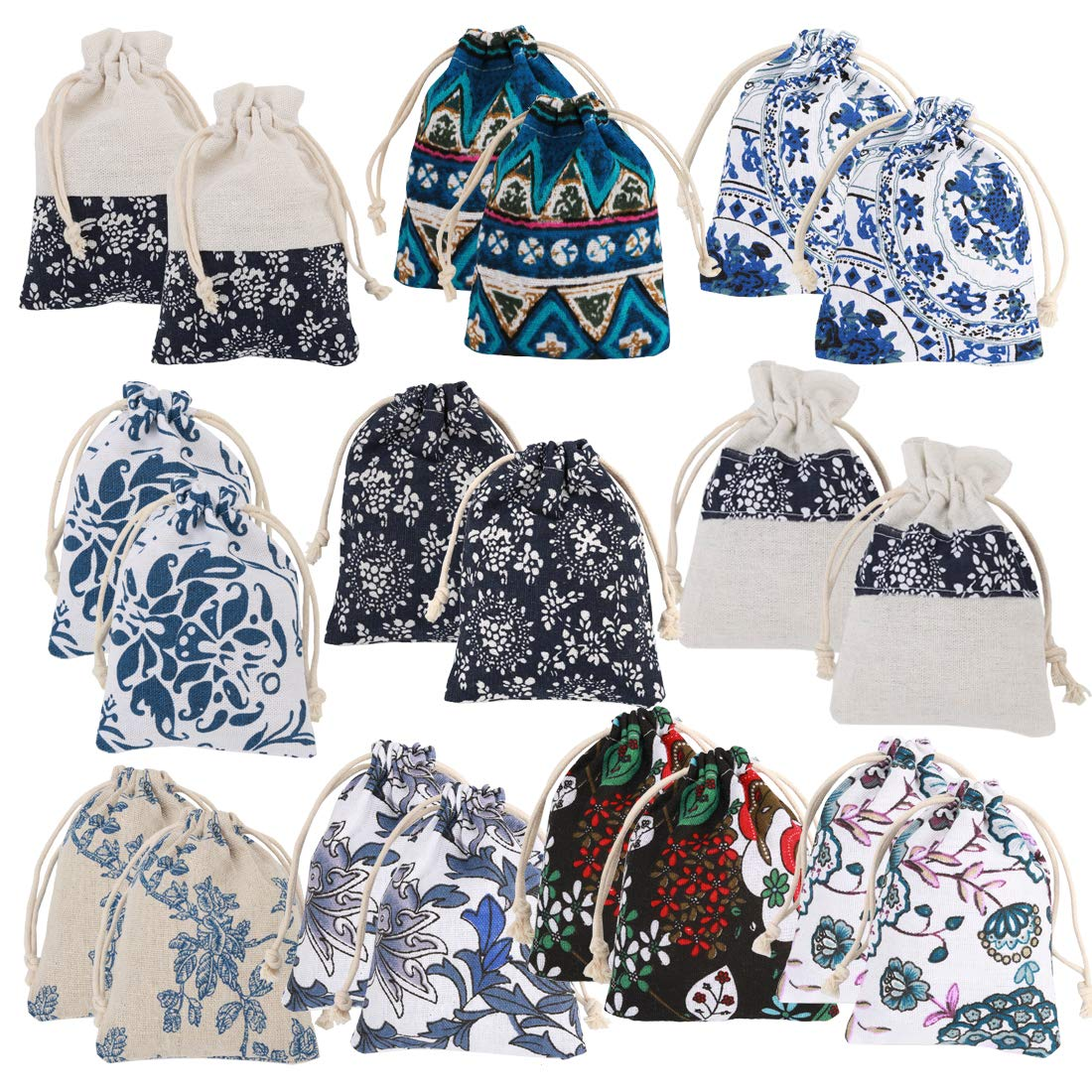 kilofly 20pc Chinese Jewelry Coin Purse Pouch Floral Print Drawstring Gift Bag TBA409set20