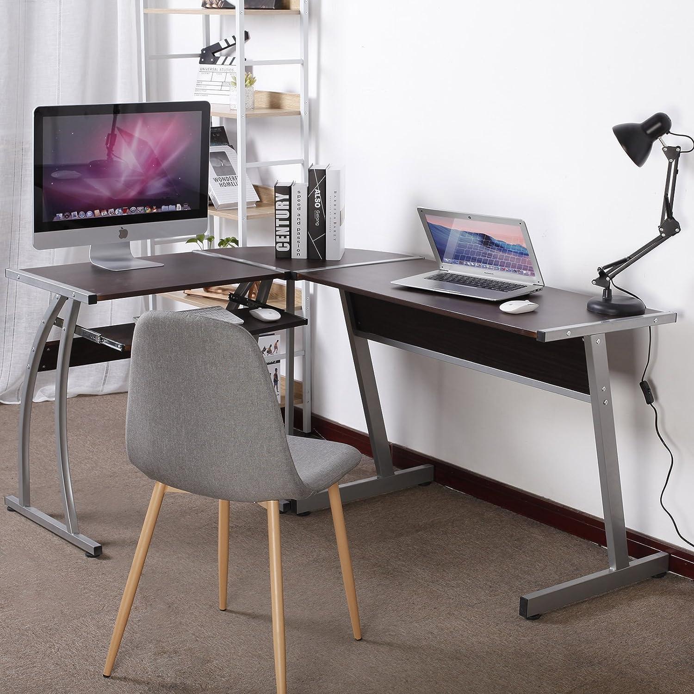 LxPxH H/être fonc/é WOLTU TSG23dc Bureau dordinateur en L forme Bureau dangle dordinateur Table travail en bois et acier 100x48,5x73,5 et 65x48,5x73,5cm