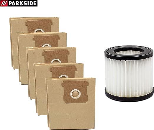 Parkside - Juego de 5 bolsas para aspiradora y filtro de pliegues para aspiradora Parkside PNTS 20-Li A1 - LIDL IAN 310656: Amazon.es: Hogar