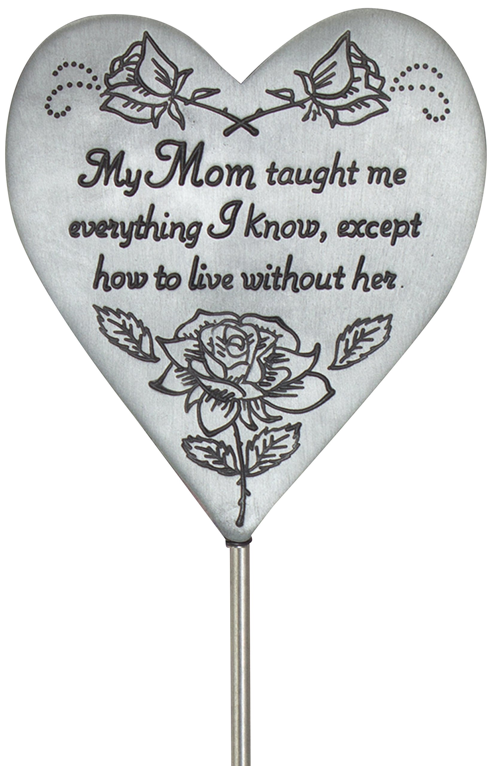 Cathedral Art Mom Heart Memorial Plant Stake Pewter