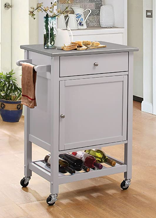 Major-Q Stainless Steel and Gray Finish Wheeled Kitchen Island Cart with  Spice, Towel, Drawer, and Wine Bottle Rack with Slatted Shelf