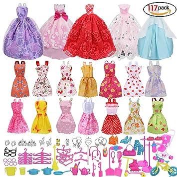 Amazon.es: Xiton muñecas Barbie Accesorios, Accesorios de Vestir para muñecas Barbie, 14pcs Verano Faldas Vestidos +5 Piezas Vestido de Novia 98 Accesorio ...