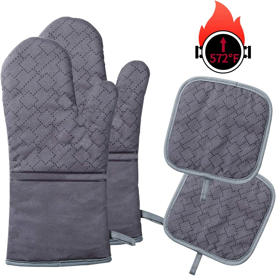 YOUTAI Oven Mitts and Pot Holders, 4PCS Oven Mitts Set, Heat Resistant up to 572 F/300°C Non-Slip Food Grade Kitchen Mitten Silicone Cooking Gloves for Kitchen, BBQ Cooking Baking Grilling