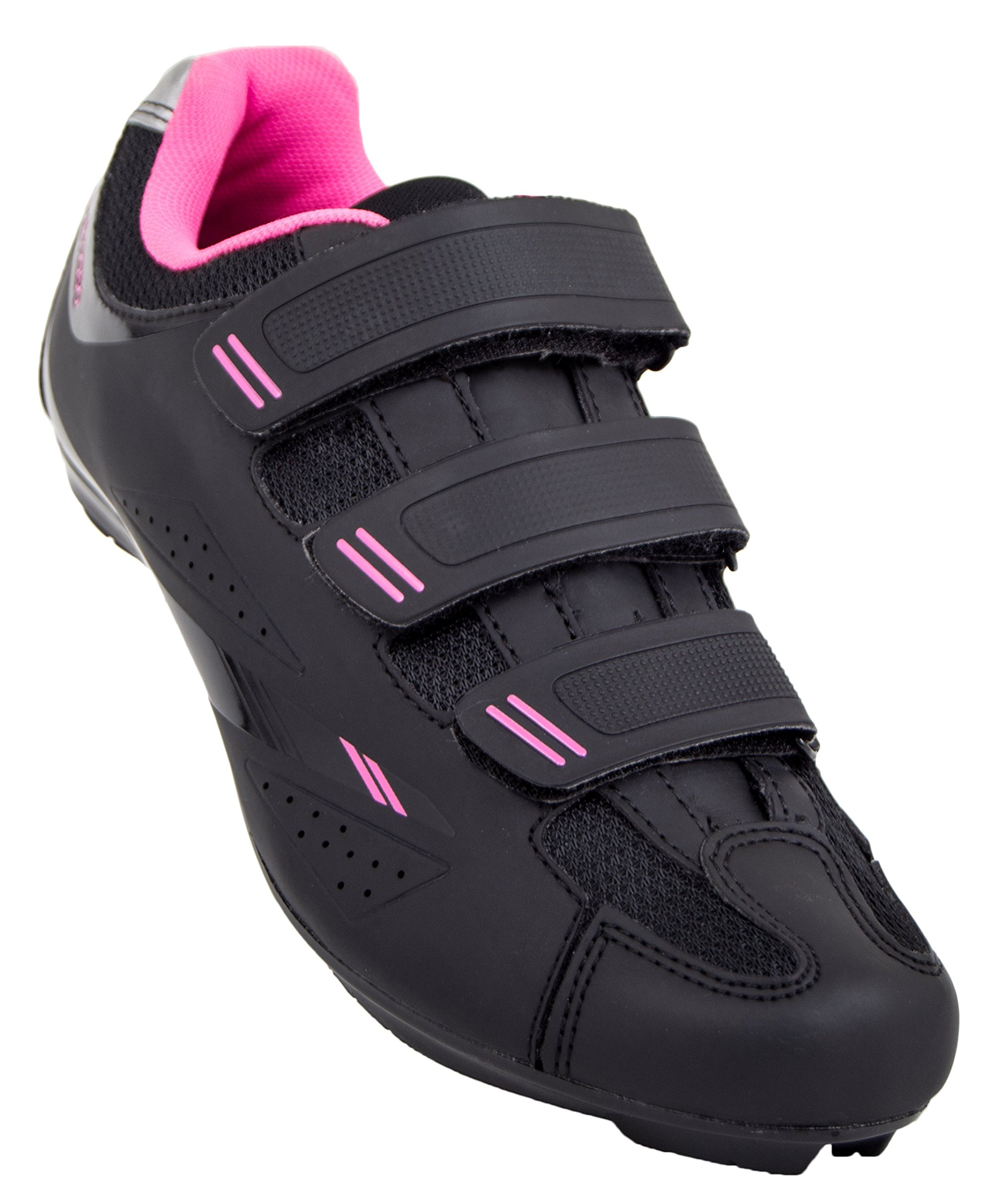 Tommaso Pista Women's Road Bike Cycling Spin Shoe Dual Cleat Compatibility - Black/Pink - 41