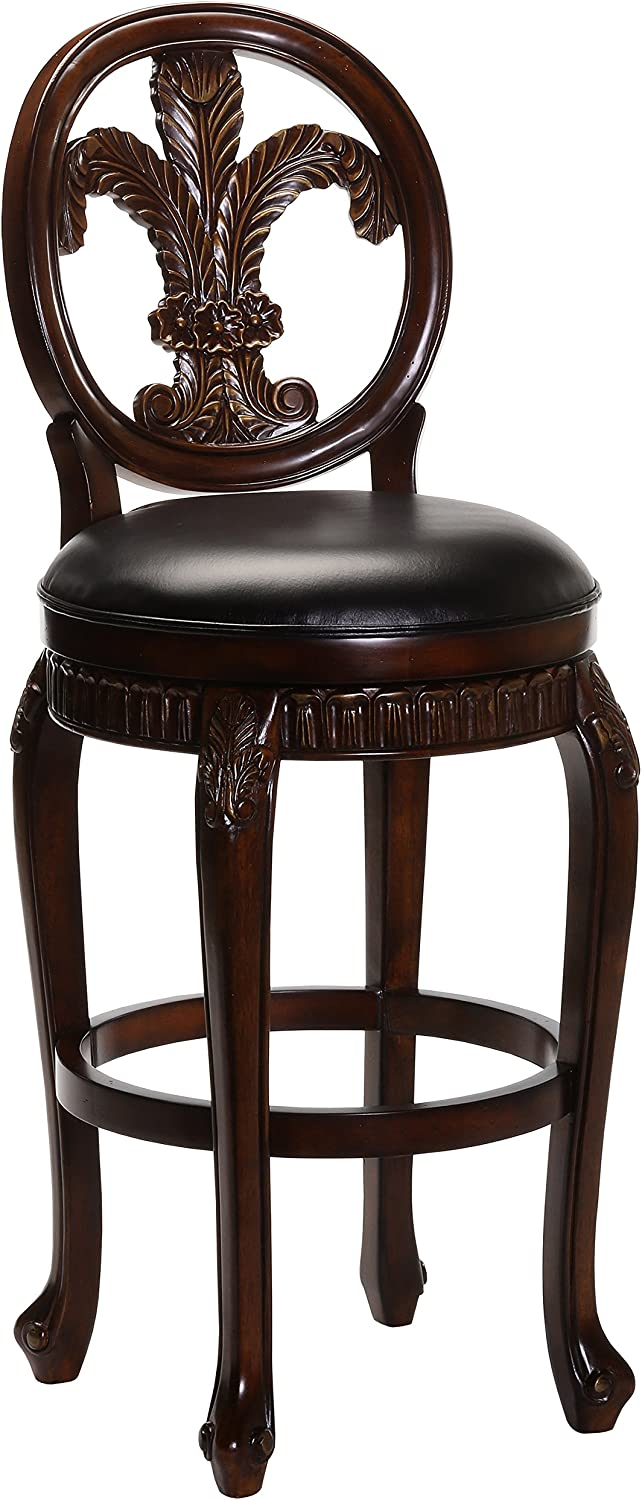 """Hillsdale Fleur de Lis Swivel Counter Stool, 25"""", Distressed Cherry with Copper Highlights"""