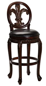 Hillsdale Furniture Fleur de Lis Swivel Bar Stool, Distressed Cherry with Copper Highlights