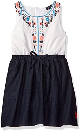 dc555176f Amazon.com  U.S. Polo Assn. Girls  Cotton Voile and Denim Dress with ...