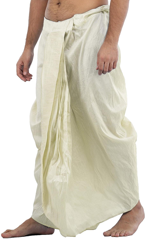 Maenner-Dhoti-Dupion-Silk-Plain-handgefertigt-fuer-Pooja-Casual-Hochzeit-Wear Indexbild 44