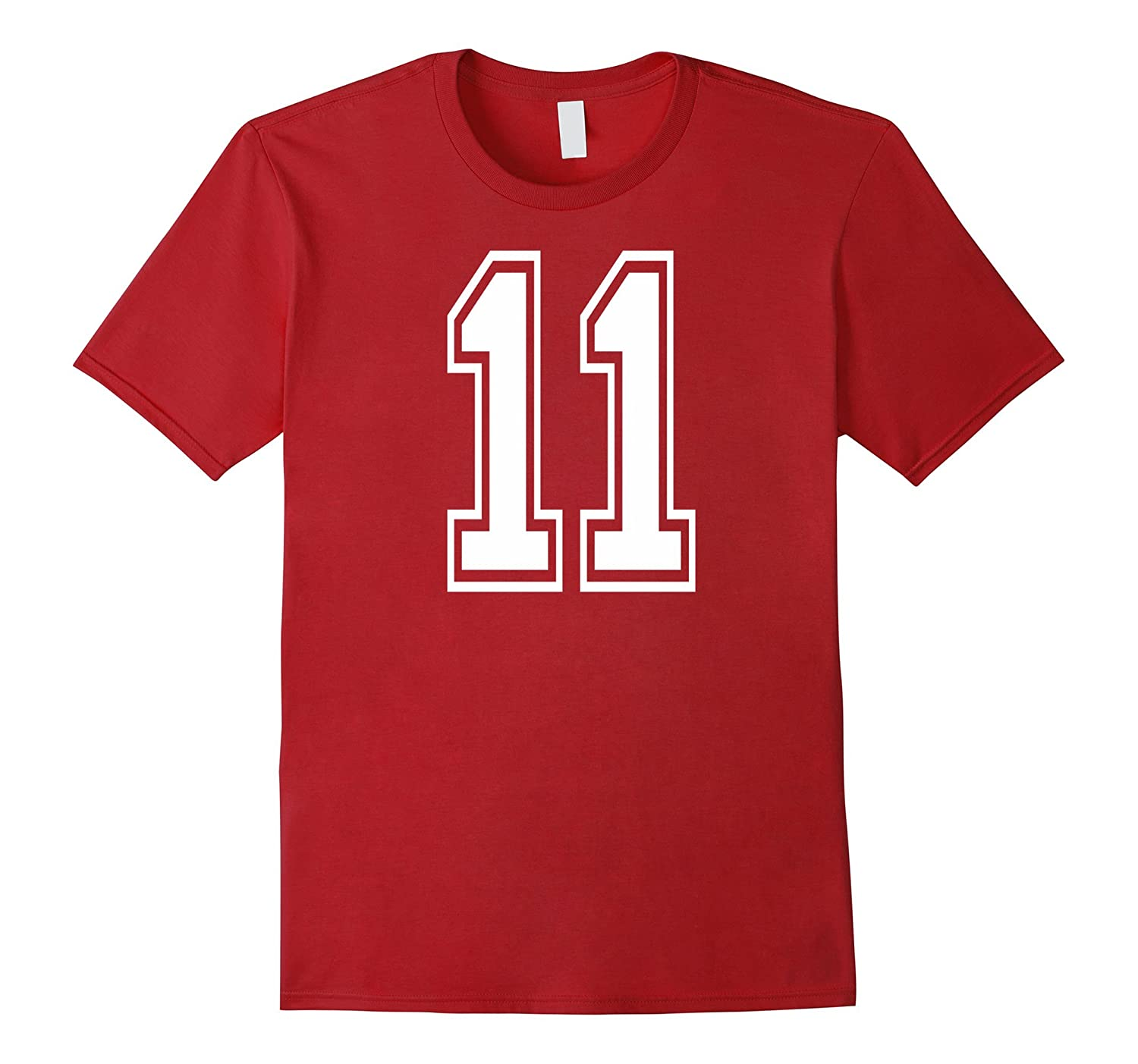 #11 Numbered College Sports Team T-Shirts white front & back-T-Shirt