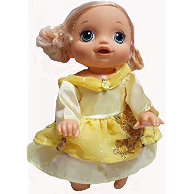 Doll Clothes Superstore Yellow Princess Belle Inspired Dress Fits Little Baby Dolls and Baby Alive: Toys & Games