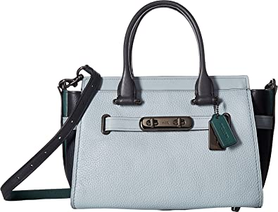 919981ebbc COACH Women s Coach Swagger 27 In Colorblock Leather Dk Pale Blue Navy Dk  Turquoise One Size  Handbags  Amazon.com