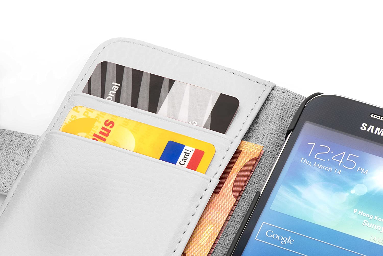 Cadorabo Samsung Galaxy CORE Funda de Cuero Sintético ESTRUCTURA en BLANCO MAGNESIO Cubierta Protectora Estilo Libro con Cierre Magnético, ...