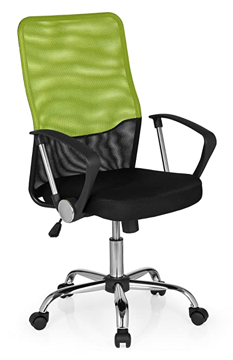 hjh OFFICE - 685334 FOLEY NET Silla de oficina, tejido en malla negro/verde cromado