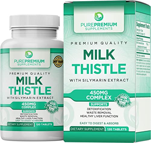 Premium Milk Thistle Extract by PurePremium Non-GMO Super-Concentrated Liver Cleanse, Anti-inflammatory and antioxidant. Plus Immune Support with Silymarin Extract.