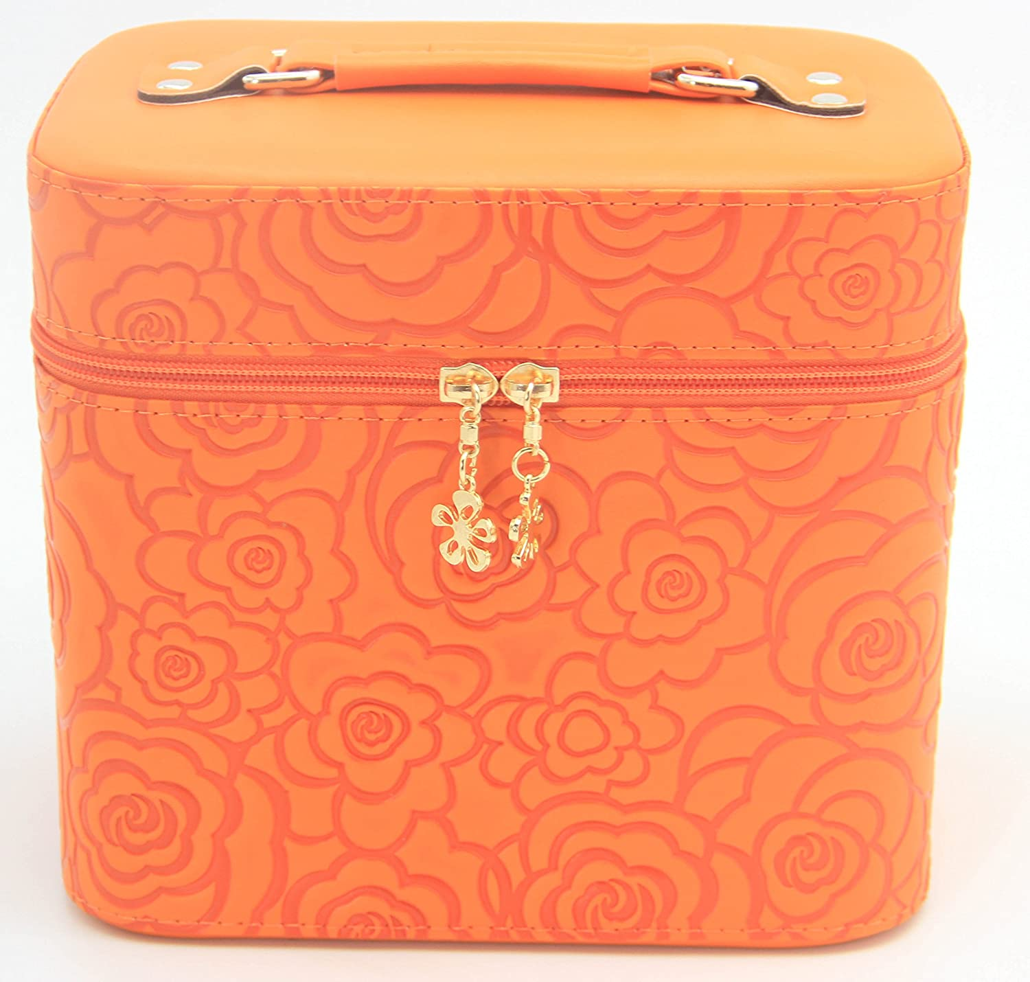 d5f0af854218 HOYOFO 2-Piece Set 3D Rose Pattern Large Makeup Case Travel Make Up Bag  Cosmetic Train Cases,Orange