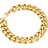 ChainsPro Chunky Men Cuban Link Bracelet, 12 mm Width, 21CM, 18K Gold Plated/316L Stanless Steel/Black-with Gift Box
