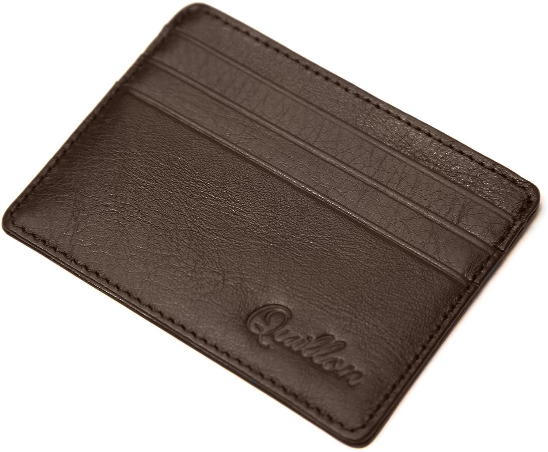 Quillon Porta Carta De Credito / 6-12 Carte e Banconote Portafoglio / Vera Pelle / Portafoglio / Piccola Borsa / (Marrone) SQ-QU-150002