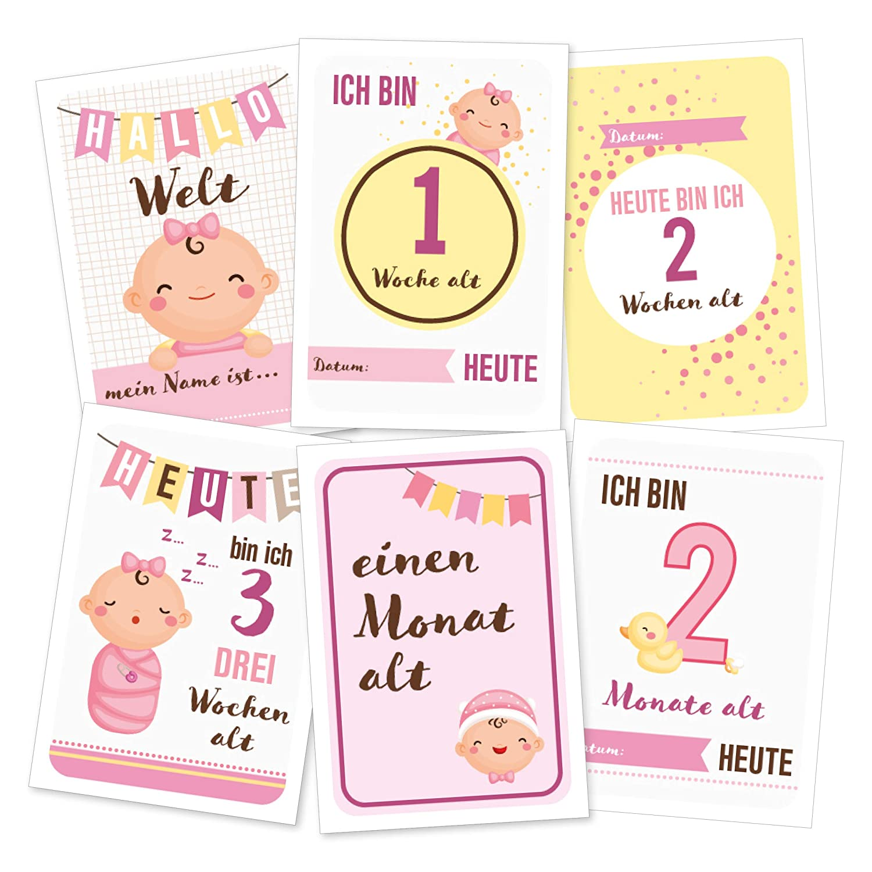 Sprache Deutsch Schwangerschaft - Meilensteinkarten w/ählbar f/ür JUNGE oder M/ädchen Babyparty Geschenk zur Geburt Baby Meilenstein-Karten f/ürs erste Lebensjahr -
