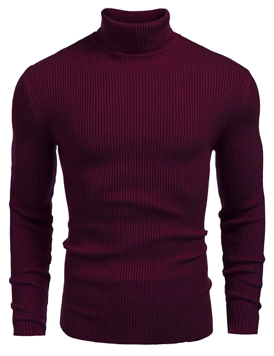 JINIDU Mens Casual Basic Ribbed Slim Fit Knitted Pullover Turtleneck Thermal Sweater AS12240811