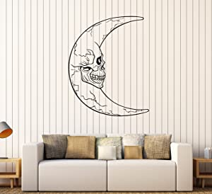 Large Vinyl Wall Decal Crescent Moon Skull Horror Decor Stickers (ig4375) Matte Black
