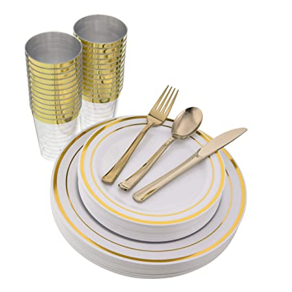 150 Pieces, Gold Disposable Plastic Plates & Silverware & Cups, Elegant Dinnerware Set for Wedding, Party, Includes 25 Dinner Plates, 25 Dessert Plates, 25 Tumblers, 25 Forks, 25 Knives, 25 Spoons