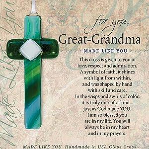 Made Like You Great-Grandma Handmade Glass Cross With Poetry