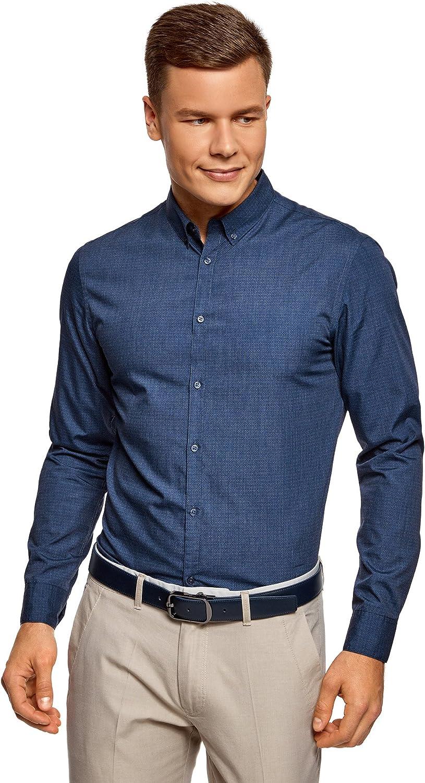 oodji Ultra Hombre Camisa Entallada con Decoración Gráfica Pequeña: Amazon.es: Ropa y accesorios