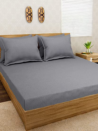 Jersey Dreams Grey Knitted Fitted Bedsheet Set To Fit Mattress Size 7u0027 ...