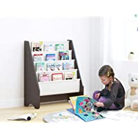 UTEX Kids Sling Bookshelf, Magazine Rack - Book Rack for Kids,Book Organizer (Espresso)