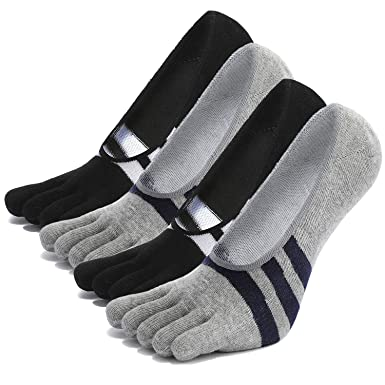 5 Pairs Men/'s Cotton Absorbent Stockings Blend Soft Five Fingers 5 Toe Socks UK