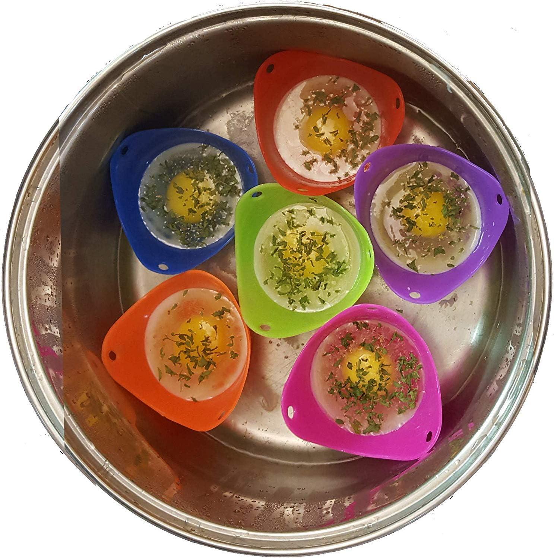 Parfaitement cuits avec des /œufs poch/és en silicone tr/ès /épais et tr/ès /épais /Œufs poch/és /Œufs poch/és couleurs al/éatoires 6 pi/èces Bonne aide dans la cuisine