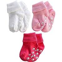 Infant Toddler socks for kids Non Skid Ankle Socks for boys and girls crew socks 3 pairs (Girls, 1-3 Years(10-12cm))
