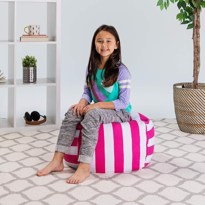 Childrens Toy Organizer Medium 27 Posh Stuffable Kids Stuffed Animal Storage Bean Bag Chair Cover Canvas Stripes Pink and White