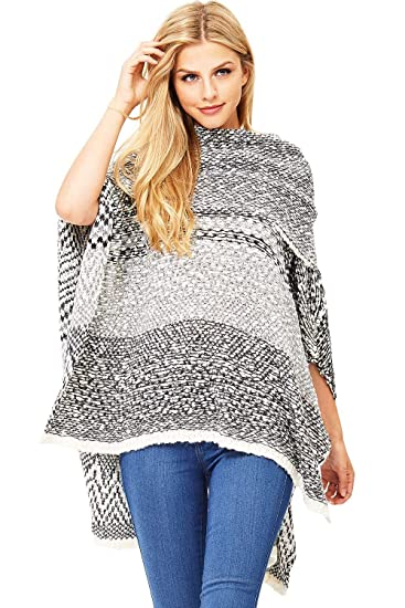 a14e8c8fd6d70 LOVE STITCH Women's Knit Relax Fit Poncho Top (One Size, Blk/Wht) at ...