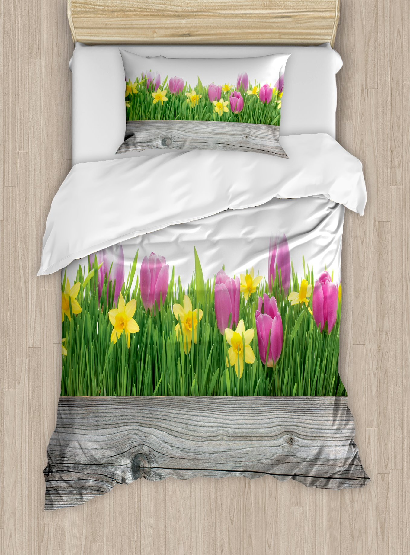 Daffodil Decor Duvet Cover Set by Ambesonne, Spring Tulips and Daffodils Flowers Blossoms in Vibrant Colors with Wood Plank, 2 Piece Bedding Set with Pillow Sham, Twin / Twin XL, Purple Yellow Green