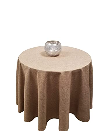 Fine Homchic Linen Look Washable Spill Proof Heavy Weight Treated Polyester Tablecloth 60 Inch Round Brown Ibusinesslaw Wood Chair Design Ideas Ibusinesslaworg