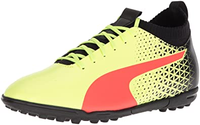 PUMA Mens Evoknit FTB TT Soccer Shoe, Fizzy Yellow-Red Blast Black, 7