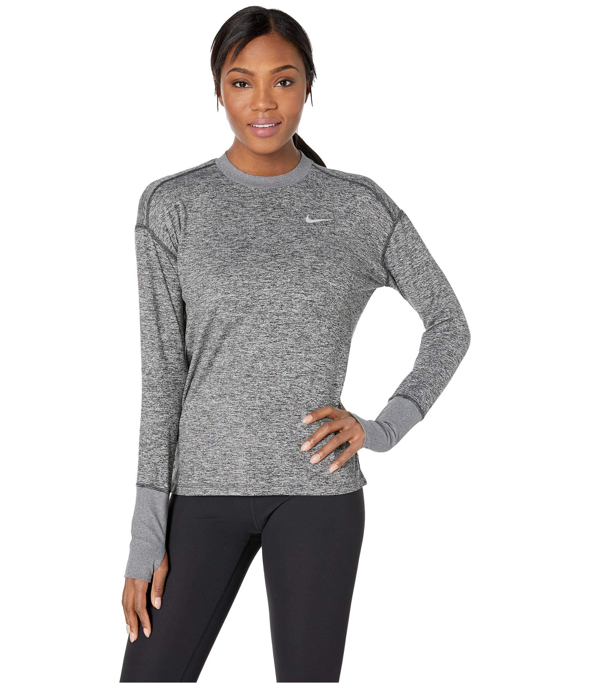 Nike Women's Element Long Sleeve Running Shirt (Black Heather, X-Small)