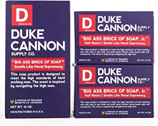 product image for Duke Cannon Supply Co. - Big Ass Brick of Soap, Smells Like Naval Supremacy (1) 10 oz and (2) 4.5 oz Superior Grade Masculine Scent Bar Soap Designed for Hardworking Men - Refreshing Ocean