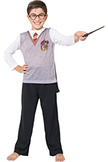 Harry Potter Big Boys LS Gryffindor Uniform With Cape 3 Piece PJ Set
