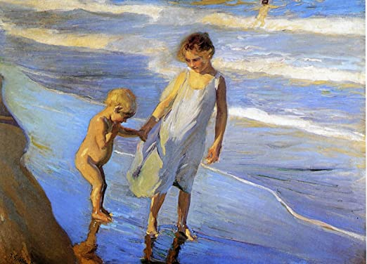CHILDREN LITTLE GIRLS PLAYING ON THE BEACH PAINTING ART REAL CANVAS GICLEEPRINT