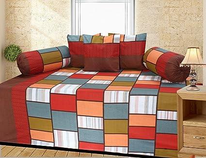 ZAINHOME 180 TC Cotton Diwan Set (Multicolour)