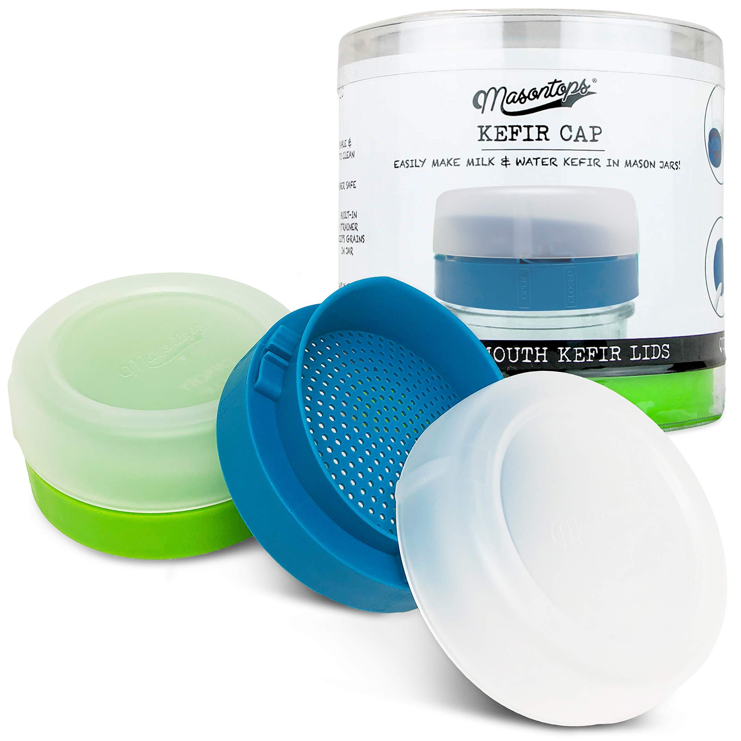 Masontops Kefir Caps - Wide Mouth Mason Jar Lids - Live Culture Grains Strainer - Home Fermentation Starter Kit - 2 Pack by Masontops